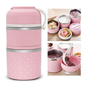 AKUGA Leak-Proof Lunch Box Food Container Tiffin Hot Box Stainless Steel and Plastic 2 Layer Insulated Lunch Box Vacuum…