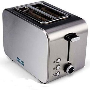 AMERICAN MICRONIC INSTRUMENTS - 2-Slice Stainless Steel Pop-up Toaster with Cancel, Reheat Functions (AMI-TSS1-85Dx- 850…