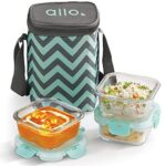 Allo FoodSafe 310ml x 3 Glass Lunch Box with Break Free Detachable Lock, Oven Safe Microwave Safe High Borosilicate…