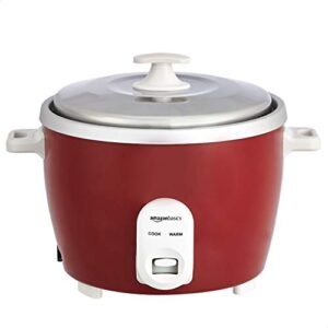 AmazonBasics Electric Rice Cooker 1.8 L (700 W) with 2 Aluminum Pans, Measuring Cup and Rice Scoop – Maroon