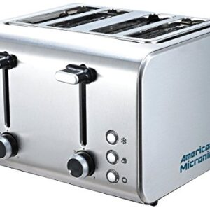 American MICRONIC - AMI-TSS2-150Dx- 4-Slice - Stainless Steel Pop-up Toaster 1500 Watts (Steel) 2021 Model