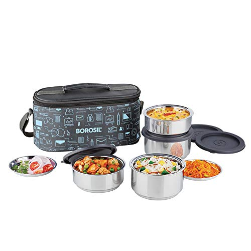 Borosil - Carry Fresh Stainless Steel Insulated Lunch Box Set of 4, (2pcs 280 ml + 2pcs 180 ml), Blue/Grey
