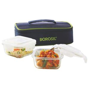 Borosil Glass Lunch Box Set of 2, 320 ml, Horizontal, Microwave Safe Office Tiffin