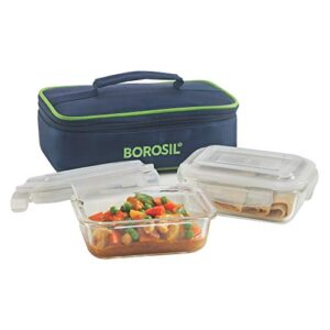 Borosil – Glass Lunch Box Set of 2, 370 Safe Office Tiffin
