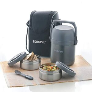 Borosil – Hot-N-Fresh Stainless Steel Insulated Lunch Box,1.3L, Grey
