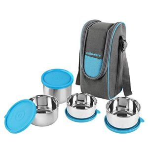 Cello Steelox Stainless Steel Lunch Box-4 Steel, Blue, (Capacities – 225ml, 375ml x 2, 550ml)