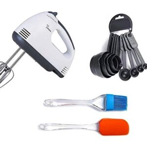DEEJET 260 WATT Electric Hand Mixer and Blenders with Chrome Beater and Dough Hook Stainless Steel Attachments – Speed…