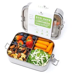 Ecozoi Stainless Steel Lunch Box Food Pack | 3 Compartment Leak Proof with Locking Clips | Sustainable Food Storage…