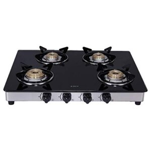 Elica Vetro Glass Top 4 Burner Gas Stove with Double Drip Tray (694 CT DT VETRO), Black, Manual