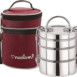 Expresso Stainless Steel Dura Hot 3 Tier 7 Inch Lunch Box with Insulated Carry Bag, Silver-1100 ml