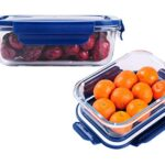 FRATELLO HOME – Glass Lunch Box Food Storage Containers with Blue Lids, Glass Meal Prep Containers, Airtight Glass Lunch…