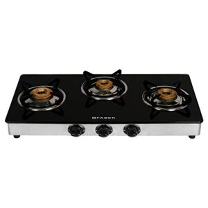 Faber Manual Ignition, Stainless Steel Gas Stove 3 Burner Glass Cooktop (Power 3BB SS, Small)