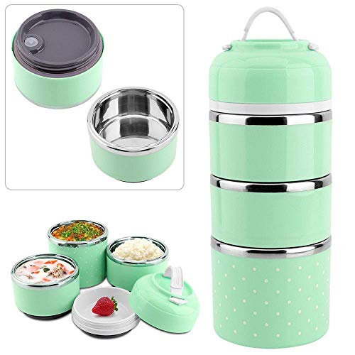 Fixoria Leak-Proof Lunch Box Food Container Tiffin Hot Box Stainless Steel and Plastic Insulated Lunch Box Vacuum with…