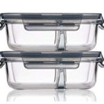 Glassify Glass Serving Bowl With Lid – 1000ml, Set of 2, Tranparent