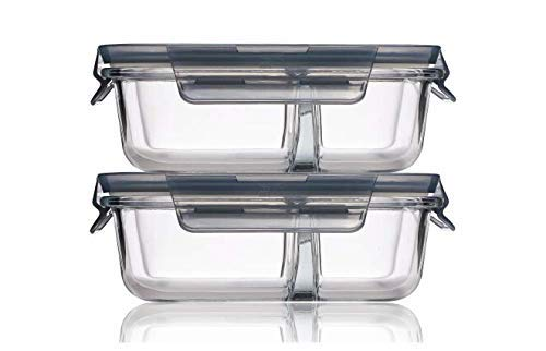 Glassify Glass Serving Bowl With Lid - 1000ml, Set of 2, Tranparent