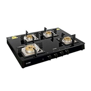 Glen 1048 SQ BL 4 Burner Glass Black Cooktop Gas Stove with Forged Brass Burners and Auto Ignition, Black