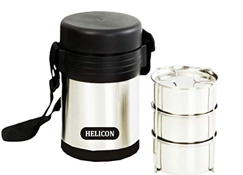 Helicon Premium Insulated Strong Stainless Steel 3 Containers Lunch Box_ 900 Ml Capacity(Each Container 300 ml)