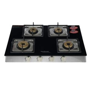 Hindware Lorenzo 4B Toughened Glass, Stainless Steel 4 Forged Brass Burner Gas Stove (Black)