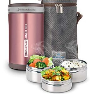 Homecare Jupiter Stylish and Trendy 1.7 L Vacuum Insulated Stainless Steel Lunch Box with 3 Spill-Proof containers…