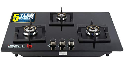 IBELL 490GH HOB 3 Burner Glass Top Gas Stove with Auto Ignition, Toughened Glass, Royal Black Design, Black