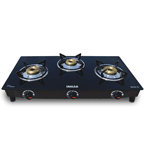 Inalsa Dazzle Glass Top, Open 3 Burner Gas Stove with Rust Proof Powder Coated Body, Black