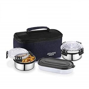 JENSONS Aqua Double Decker Executive Stainless Steel Leakproof 500ML(250ML Each) & Detachable Click & Lock Lunch Box…