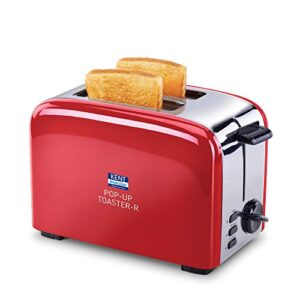 KENT 16030 850W 2-Slice Pop-Up Toaster, Red