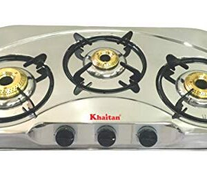 """Khaitan 3 Burner Draw""""C"""" (with Extra Big Party Cooking Burner) Stainless Steel 1 Year Warranty (ISI Certified & BIS Approved) Gas Stove, Manual, Silver"""