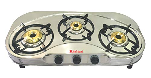 Khaitan 3 Burner Gas Stove Draw C (with Extra Big Party Cooking Burner), Stainless Steel Manual Ignition LPG Gas Stove…