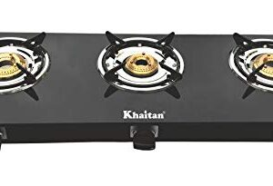 Khaitan 3 Burner Gas Stove BP-JIO Black Toughened Glass Top, manual Ignition LPG Gas Stove with 1 Year Warranty (ISI…