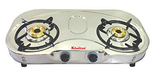 Khaitan 2 Burner Gas Stove Draw C Stainless Steel Manual Ignition LPG Gas Stove with 1 Year Warranty & Brass Burner (ISI…