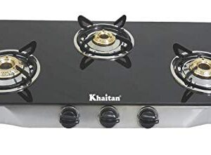 Khaitan 3 Burner RECT SS Black Toughened Glass Top, Manual Ignition LP Gas Stove with 1 Year Warranty & Brass Burner…
