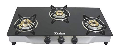 Khaitan 3 Burner Gas Stove RECT SS Black Toughened Glass Top, Manual Ignition LPG Gas Stove with 1 Year Warranty & Brass…