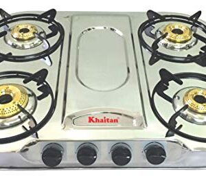 Khaitan Gas Stove 4 Burner Draw Front Taper (with Party Cooking Burner) Manual Cooktop 1 Year Warranty (ISI Certified…