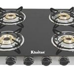 Khaitan 4 Burner Gas Stove RECT SS Black Toughened Glass Top, manual Ignition LPG Gas Stove with 1 Year Warranty & Brass…