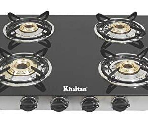 Khaitan 4 Burner RECT SS Black Toughened Glass Top, manual Ignition LP Gas Stove with 1 Year Warranty & Brass Burner…