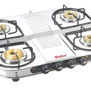 Khaitan Stainless Steel Silver Gas Stove 4 Burner Double Decker Manual Cooktop (with party cooking burner)