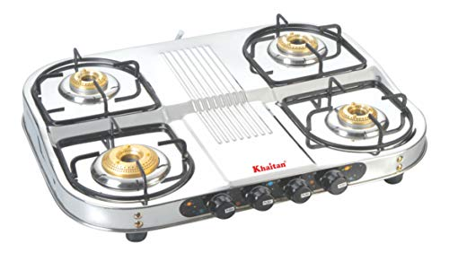 Khaitan 4 Burner Gas Stove Draw Double Decker (with Extra Big Party Cooking Burner), Stainless Steel Manual Ignition LPG…