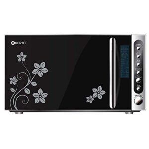 Koryo 20L Convection Microwave Oven with Floral Design Glass Door (KMC2122IAM, Black)