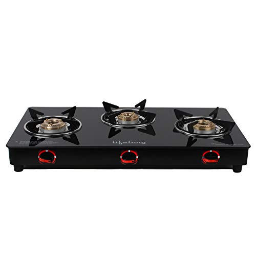 Lifelong LLGS23 Glass Top 3 Burner Gas Stove, Manual Ignition, Black (ISI Certified, 2 Year Warranty)