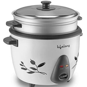 Lifelong RC15 Electric Rice Cooker 1.5 Litre with Steamer (White) | Non-Stick Cooking Pan | Keep Warm Function