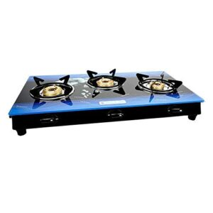 Milton Premium 3 Burner Blue Glass Top Gas Stove, Manual Ignition LPG Stove – (ISI Certified, Door Step Service)