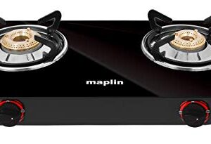 Maplin Glass Top 2 Burner Gas Stove ISI Certified 1 Year Warranty (Cooktop Black)