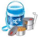 Milton Econa Deluxe 3 container Insulated Stainless Steel Lunch Box, Blue, 780 ml