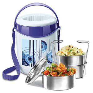 Milton Econa Insulated Lunch Box/Tiffin with Leak Lock Steel Containers, 3 pc Containers, Blue