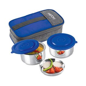 Milton Pasto Lunch Box 2 Double Wall Stainless Steel Containers with Denim Insulated Jacket, Set of 2, 350 ml, Blue