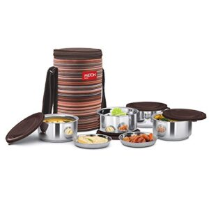 Milton Ribbon 4 Stainless Steel Lunch Box with Jackets, Set of 4, Brown