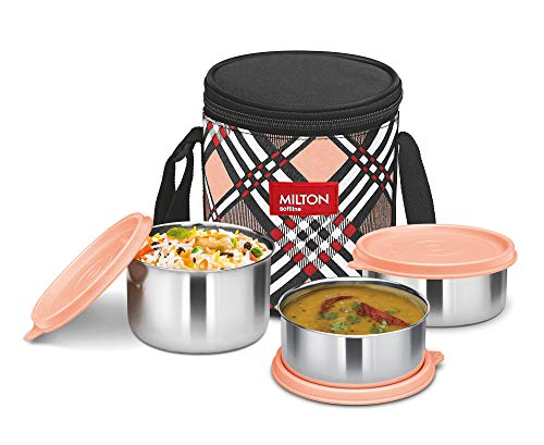 Milton Smart Meal Insulated Lunch Box, Set of 3, orange Stainless Steel