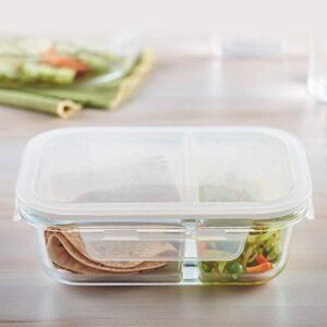 NEWTOWN Glass Meal Prep Airtight 2 Compartment Rectangular Storage/Serving Bowl Food Containers with Lids Lunch Tiffin…