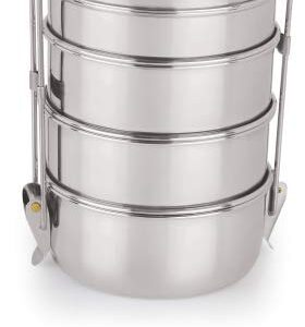 Neelam Stainless Steel Four Compartment Tiffin Box with Lid, Silver- 1500 ml